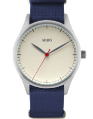 miro watches creme blue nato